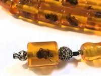 Κομπολόι από ρητίνη 33άρι με εσώκλειστες μέλισσες