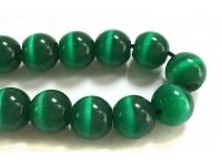 Κομπολόι από μάτι γάτας πράσινο 10mm