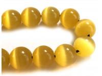 Κομπολόι από μάτι γάτας κίτρινο 10mm