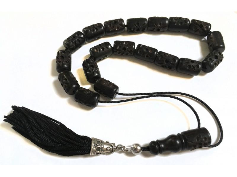 Κομπολόι από σκαλιστό Έβενο μαύρο