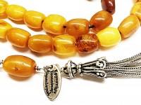 Κομπολόι από Κεχριμπάρι Βασιλικό αντικέ 33 χάντρες