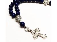 Προσευχητάρι 33 χάντρες από μπλε Αχάτη Βραζιλίας