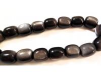 Κομπολόι από Οψιδιανό μαύρο ασημί